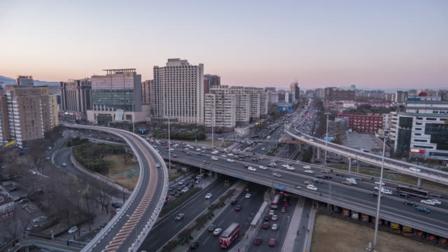 T/L WS HA Aerial View of Busy Road Intersection in Beijing video