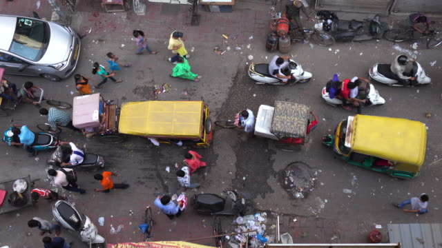 Aerial view of busy street in Delhi, India
