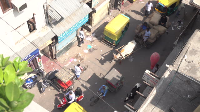 Aerial view of busy street in Delhi, India video
