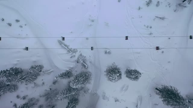 Aerial view of cable car in Carpathian mountains in winter Scenic aerial view of cable car in Carpathian mountains  in winter cable car stock videos & royalty-free footage