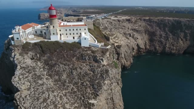 Aerial view of Cabo de Sao Vicente - southwesternmost point of Europe, located in Algarve, Portugal. Aerial view of Cabo de Sao Vicente - southwesternmost point of Europe, located in Algarve, Portugal. portugal stock videos & royalty-free footage