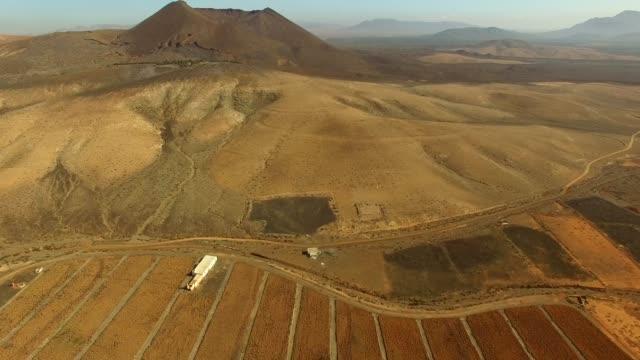 Vista aérea del volcán de la Caldera de Gairía y el Aloe vera campos en Fuerteventura. - vídeo