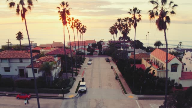Aerial view of California beach city and palm trees at sunset Low flying aerial drone view down palm tree lined street in California at sunset with ocean in the background western usa stock videos & royalty-free footage