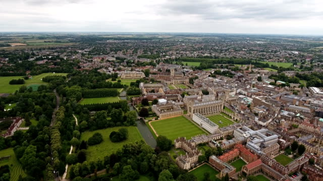 4K Aerial View of Cambridge University and Colleges, United Kingdom video