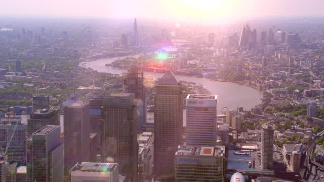 aerial view of canary wharf and central london, uk. 4k - london architecture stock videos & royalty-free footage