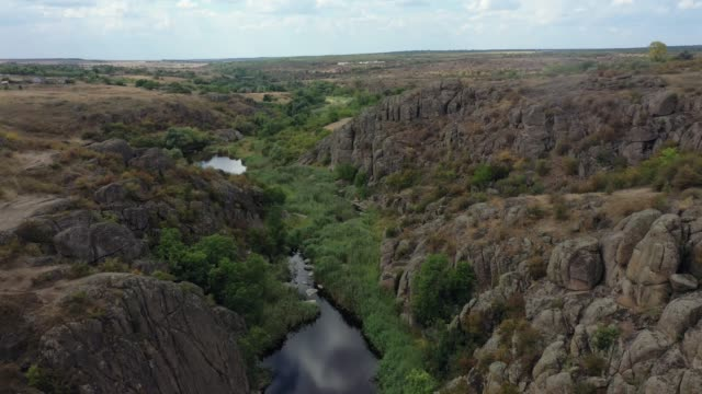 Aerial view of canyon in steppe