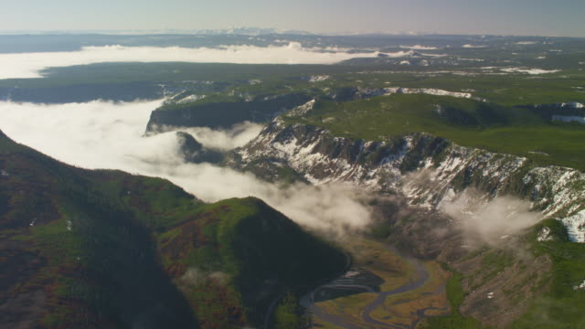Aerial view of canyon with low clouds in Yellowstone National Park