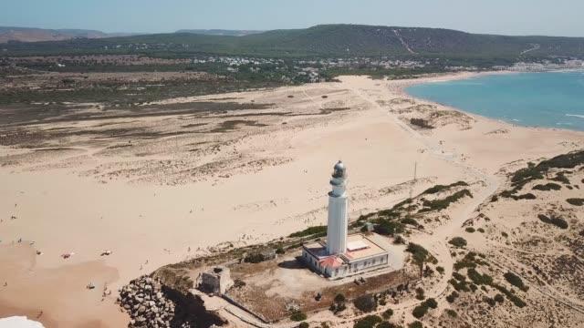 Aerial view of Cape Trafalgar lighthouse, ZAHORA, Cadiz, south-west of Spain.