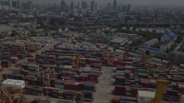 Aerial view of Cargo Container in Bangkok City