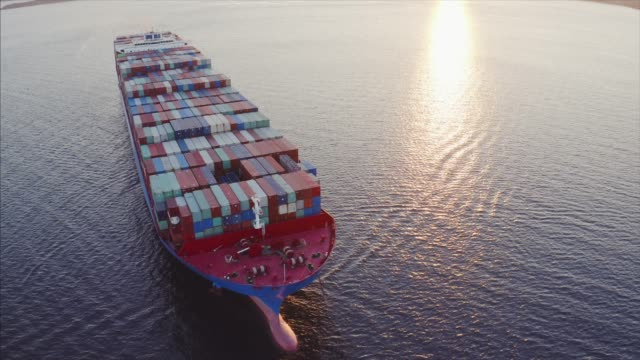 aerial view of cargo container ship arrived in russian port. vladivostok - chiatta video stock e b–roll