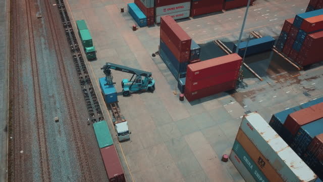 Aerial view of cargo containers in railroad yard video