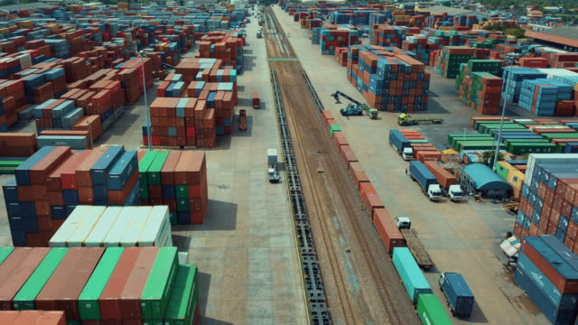 Aerial view of cargo containers in railroad yard,Hyper lapse video