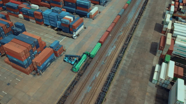 Aerial view of cargo containers in railroad yard,Time lapse video