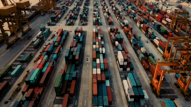 Aerial View of cargo containers on dock video