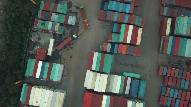 Aerial view of cargo containers video