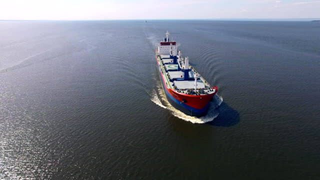 Aerial view of cargo ship in the sea video