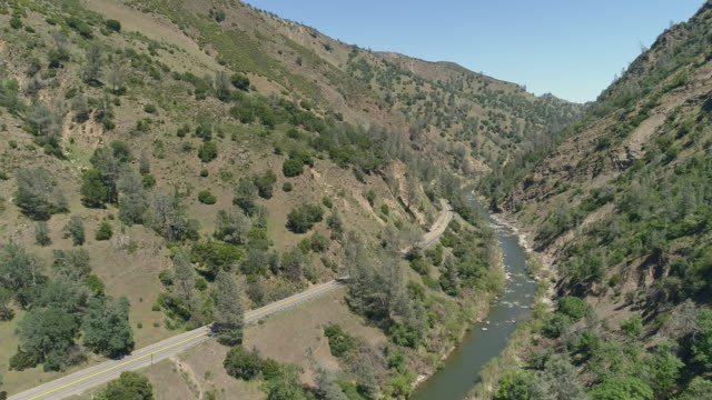 Aerial view of Cash Creek Canyon nearby Rumsey, California.  Aerial drone video with the slow forward camera motion.
