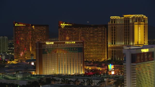 Aerial view of Casinos on the Las Vegas Strip. Las Vegas, Nevada circa-2017, Aerial view of Casinos on the Las Vegas Strip.  Shot with Cineflex and RED Epic-W Helium. palace stock videos & royalty-free footage