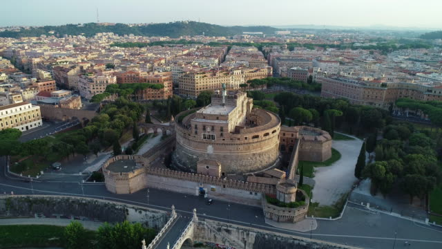 Aerial View of Castel Sant'Angelo and Vatican City. 4K