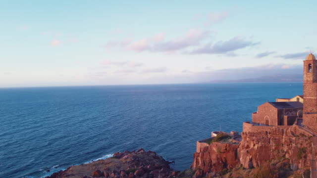 Aerial view of Castelsardo city at sunset in Sardinia, Italy video