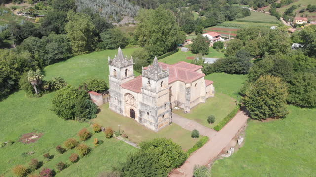 Aerial view of cathedral and surrounding rural lands
