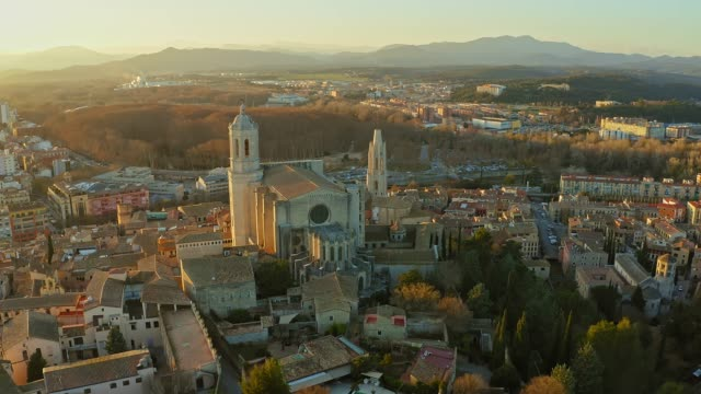 Aerial view of Cathedral in Girona at sunset