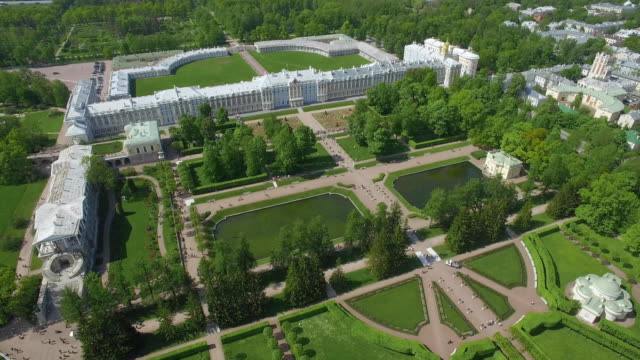 Aerial view of Catherine palace and Catherine park Aerial view of Catherine palace and Catherine park in Pushkin, Russia palace stock videos & royalty-free footage
