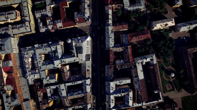 aerial view of center of st. petersburg - san pietroburgo russia video stock e b–roll