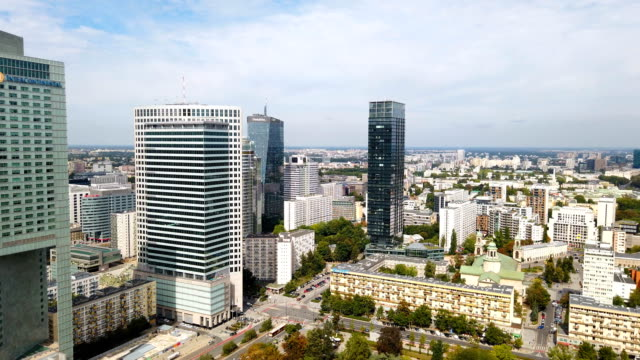 Aerial view of center of Warsaw, Poland