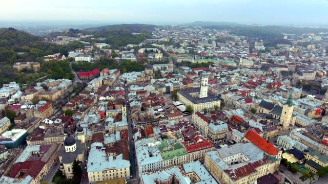 Aerial view of central hall and tower of Lviv, Ukraine video