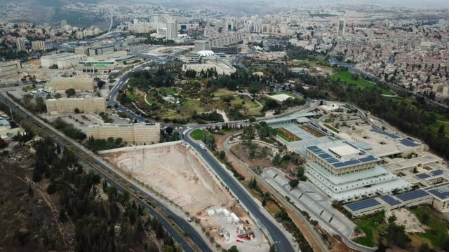 Aerial view of central Jerusalem and the Knesset (Israel's Parliament) video