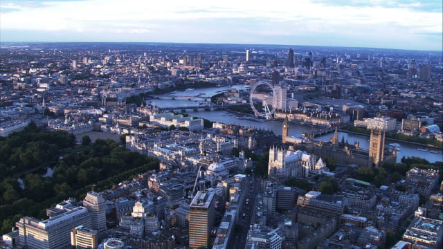 Aerial view of central London and River Thames. HD video