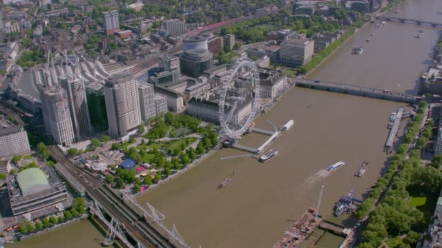 Aerial View of Central London and the River Thames, UK. 4K