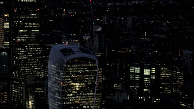 Aerial view of central London City UK video