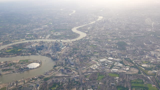 4K Aerial view of Central London through airplane window video