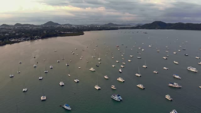 Aerial view of Chalong bay with yachts in Phuket