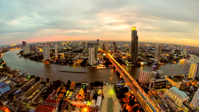 Aerial View of Chao Phra Ya River in Bangkok Thailand video
