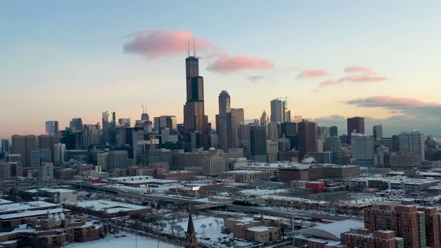 Aerial View of Chicago at Dawn