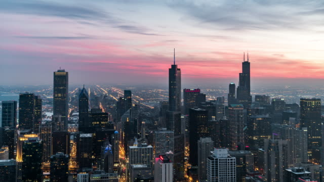 T/L Aerial View of Chicago Skyline, Dusk to Night Transition Blue hour over Chicago traffic time lapse stock videos & royalty-free footage