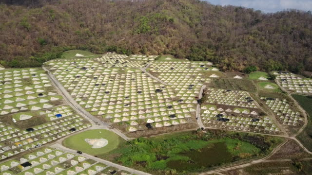 Aerial view of Chinese graveyard in Baanbung, Chonburi, Thailand. video