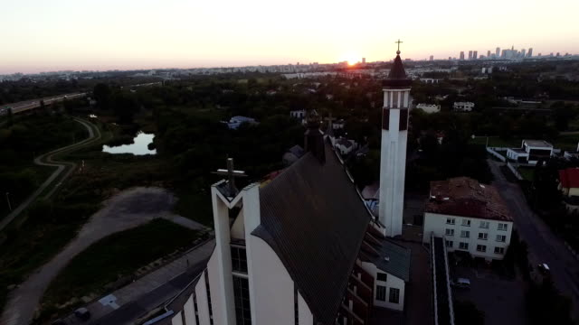 Aerial view of church. Cityscape in the background video