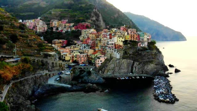 aerial view of cinque terre, liguria - italy - italian architecture stock videos & royalty-free footage