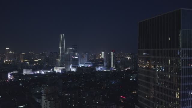 Aerial view of city at night video