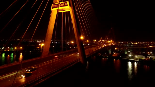 Aerial view of City Bridge at night in Bangkok, Thailand Aerial view of City Bridge at night in Bangkok, Thailand arthropod stock videos & royalty-free footage