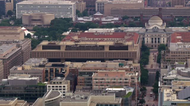 aerial view of city buildings including the federal bureau of investigation headquarters. - quartiere generale video stock e b–roll