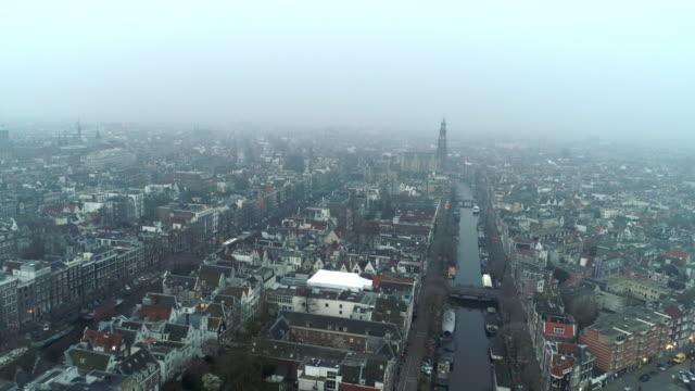 flygfoto över staden i haze - drone amsterdam bildbanksvideor och videomaterial från bakom kulisserna