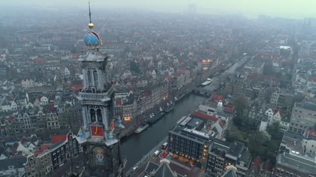 aerial view of city in haze - amsterdam video stock e b–roll