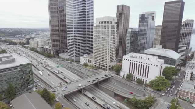 Aerial view of city in motion video
