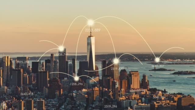 vídeos y material grabado en eventos de stock de t/l ws ha pan vista aérea de la red de la ciudad de manhattan skyline - prosperidad