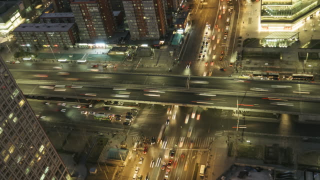 T/L MS HA PAN Aerial View of City Traffic / Beijing, China video